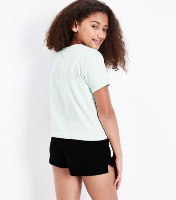 Teens Pale Blue Slogan T-Shirt and Short Pyjama Set New Look