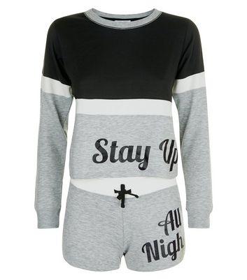 Teens Black Stay Up All Night Slogan Pyjama Set New Look