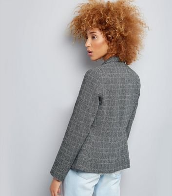 Dark Grey Check Button Front Blazer New Look