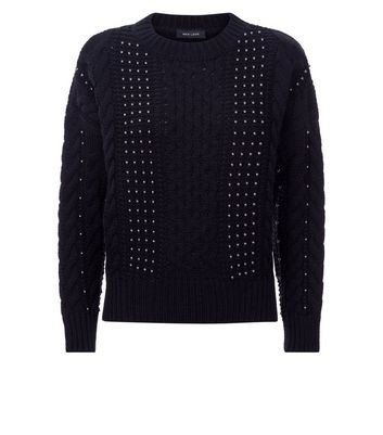 Black Beaded Cable Knit Jumper New Look