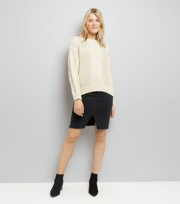 Cream Cable Knit Bead Embellished Jumper New Look