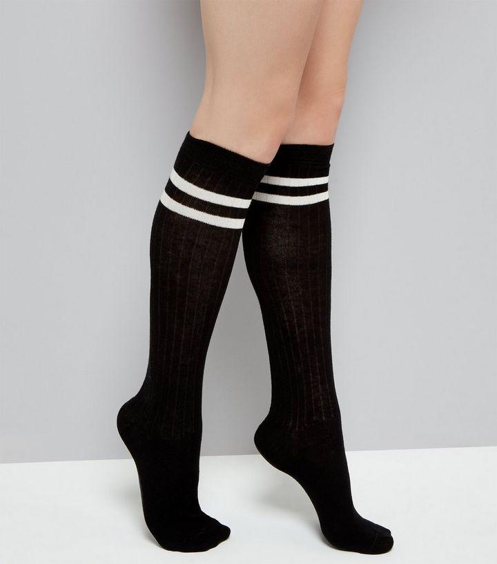 530b92b6b Black Ribbed Contrast Stripe Knee High Socks