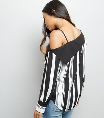Petite White Stripe Off The Shoulder Shirt New Look