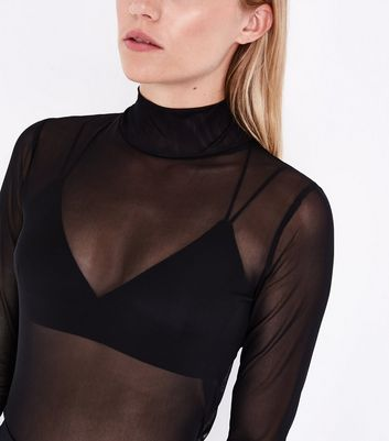 Black Sheer Mesh Funnel Neck Top New Look