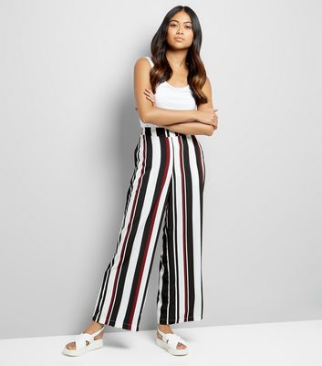 Petite Black Stripe Wide Leg Trousers New Look