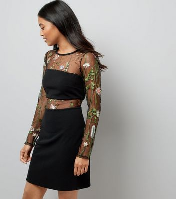 Petite Black Mesh Floral Embroidered Long Sleeve Dress New Look