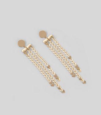 Gold Chevron Waterfall Earrings New Look