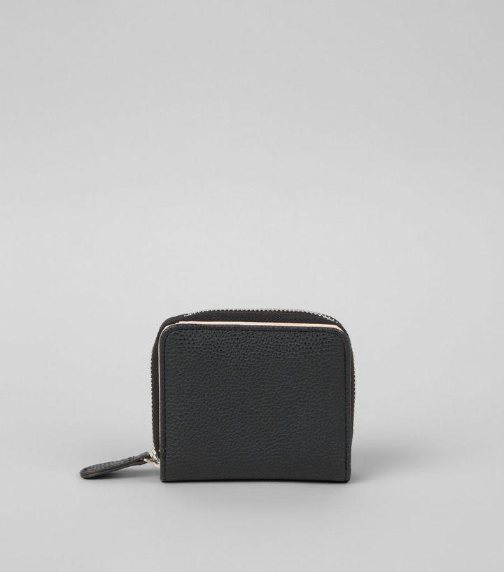 52b693b7fc5f11 Black Textured Small Zip Around Purse