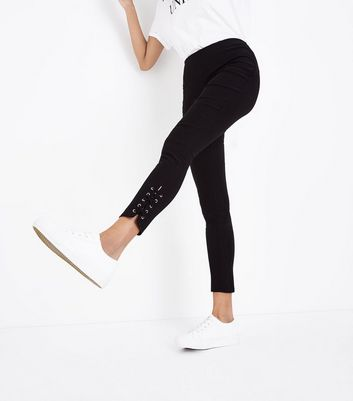 Black Eyelet Lace Up Hem Skinny Stretch Trousers New Look