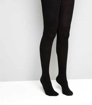 Black Ribbed Cotton Tights New Look