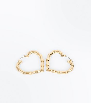 Gold Chunky Heart Hoop Earrings New Look