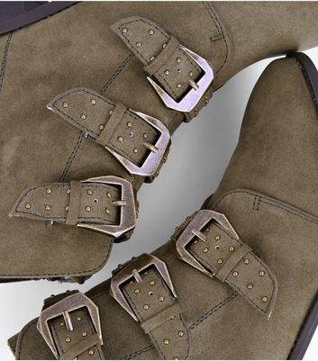 Khaki Suedette Stud Buckle Ankle Boots New Look