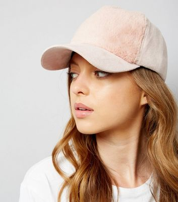 Shell Pink Faux Fur Panel Cap New Look