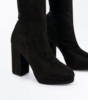 Black Suedette Platform Heel Over The Knee Boots New Look