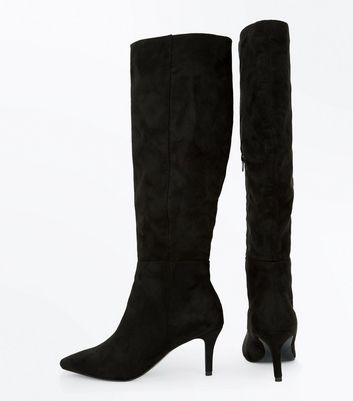 Black Suedette Knee High Kitten Heel Boots New Look
