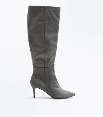 Grey Suedette Knee High Kitten Heel Boots New Look