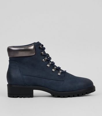 Navy Metallic Trim Lace Up Boots