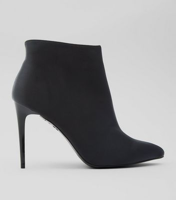 Black Satin Pointed Boots
