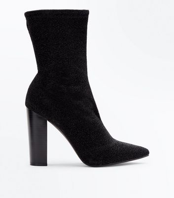 Black Glitter Block Heel Sock Boots New Look