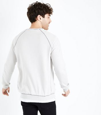 Pale Grey Contrast Seam Crew Neck Sweater New Look
