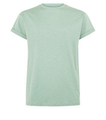 Mint Green Rolled Sleeve T-Shirt New Look