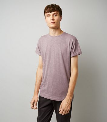 Lilac Rolled Sleeve T-shirt New Look