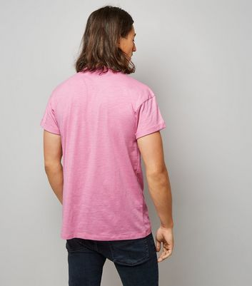 Pink Rolled Sleeve T-shirt New Look