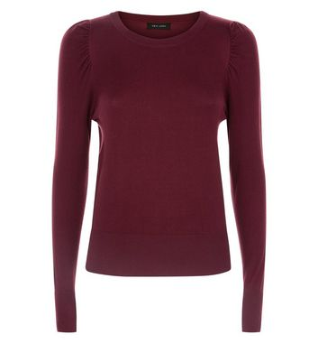 Burgundy Puff Sleeve Fine Knit Jumper New Look