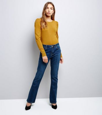 Mustard Yellow Puff Sleeve Fine Knit Jumper New Look