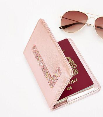 Pink Glitter L Initial Passport Holder New Look