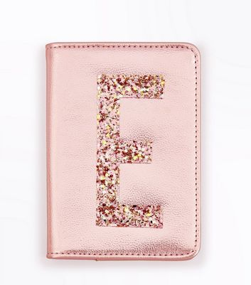 Pink Glitter E Initial Passport Holder New Look