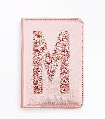 Pink Glitter M Initial Passport Holder New Look