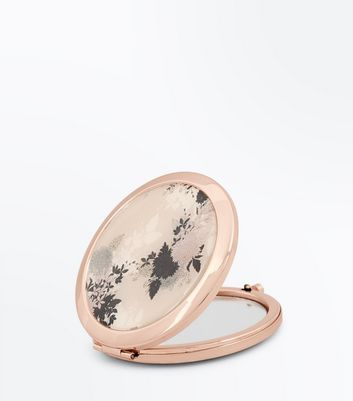 Rose Gold Floral Compact Mirror New Look