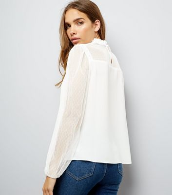 Cream Mesh and Lace High Neck Blouse New Look