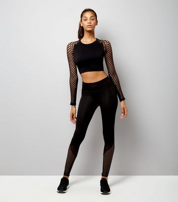 Black Fishnet Sleeves Sports Crop Top New Look