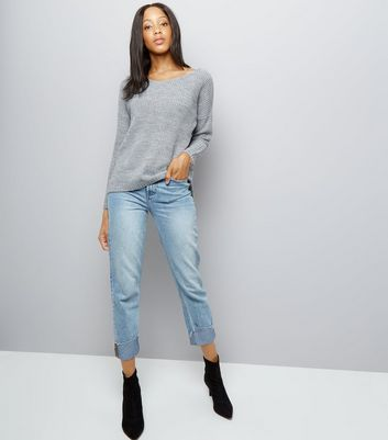 Cameo Rose Grey Ladder Back Jumper New Look