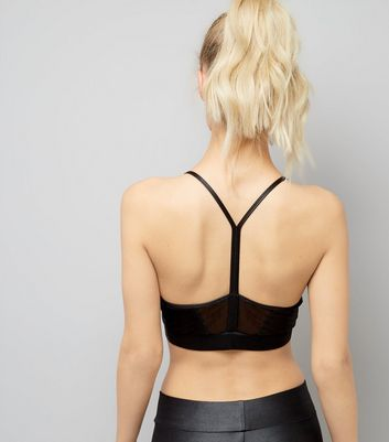 Black Mesh Panel Sports Crop Top New Look