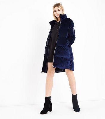 Blue Vanilla Navy Velvet Funnel Neck Puffer Jacket New Look