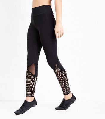 Black Fishnet Panel Sports Leggings New Look