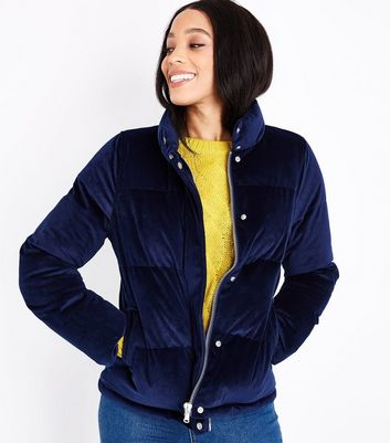 Blue Vanilla Navy Velvet Puffer Jacket New Look