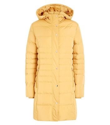blue vanilla yellow hooded longline puffer jacket new look