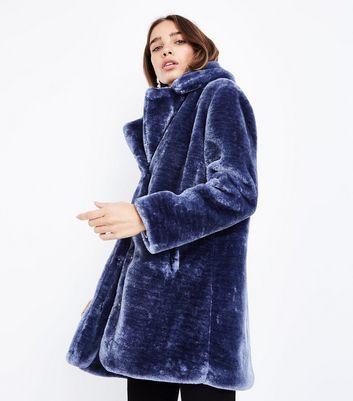 Pink Vanilla Blue Teddy Faux Fur Coat New Look
