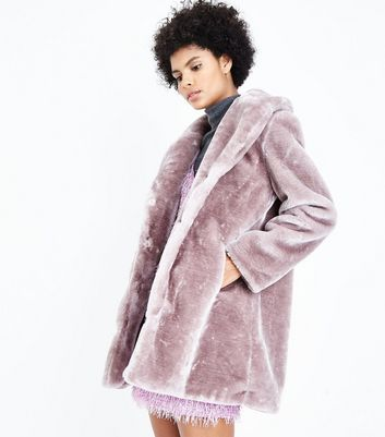 Pink Vanilla Lilac Teddy Faux Fur Coat New Look