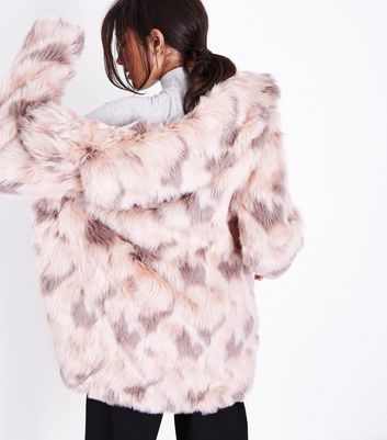 Blue Vanilla Pink Textured Faux Fur Coat New Look