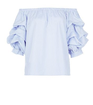 Blue Stripe Ruched Sleeve Bardot Neck Top New Look
