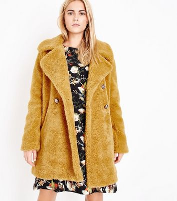 Blue Vanilla Yellow Faux Shearling Coat New Look