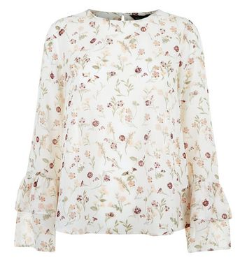 White Floral Print Frill Flute Sleeve Blouse New Look