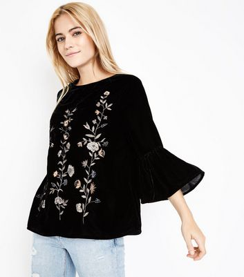 Black Velvet Metallic Floral Embroidered Bell Sleeve Top New Look