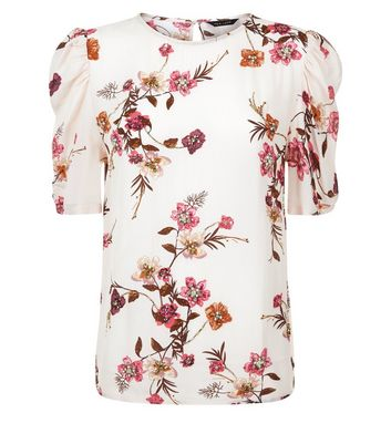 Pink Floral Gem Embellished Puff Sleeve Top New Look