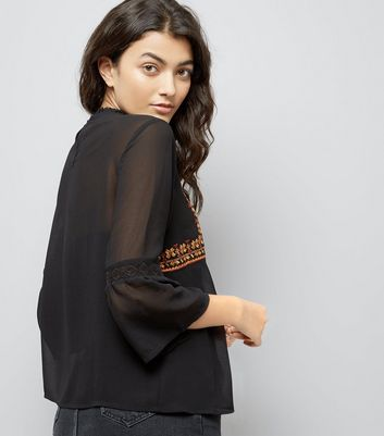 Black Sheer Embroidered Flare Sleeve Top New Look
